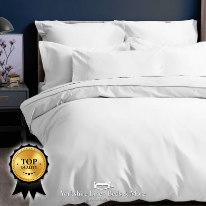Pima Cotton Sateen 450TC Fitted Sheets White - Yorkshire Linen Beds & More P02