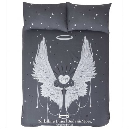 Angel Wings Duvet Cover Set Silver - Yorkshire Linen Beds & More P01
