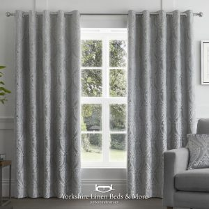 Charlotte Luxury Lined Curtains Damask Silver - Yorkshire Linen Beds & More P01