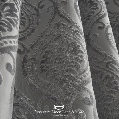 Charlotte Luxury Lined Curtains Damask Silver - Yorkshire Linen Beds & More P02