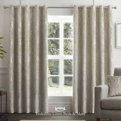 Charlotte Luxury Lined Damask Curtains Natural - Yorkshire Linen Beds & More P01