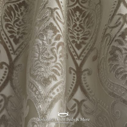 Charlotte Luxury Lined Damask Curtains Natural - Yorkshire Linen Beds & More P02