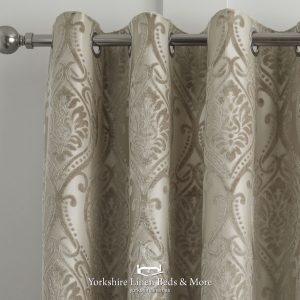 Charlotte Luxury Lined Damask Curtains Natural - Yorkshire Linen Beds & More P03