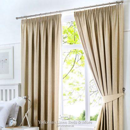 Dillon Blackout Pencil Pleat Curtains Natural - Yorkshire Linen Beds & More P01