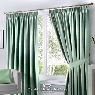 Dillon Pencil Pleat Blackout Curtains Duck Egg - Yorkshire Linen Beds & More P01