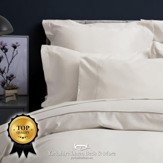 Pima Cotton Sateen 450TC Duvet Cover Ivory - Yorkshire Linen Beds & More P02