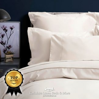 Pima Cotton Sateen 450TC Fitted Sheets Ivory - Yorkshire Linen Beds & More P01