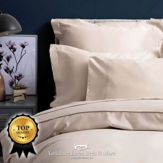 Pima Cotton Sateen 450TC Pillowcases Oyster - Yorkshire Linen Beds & More P01`