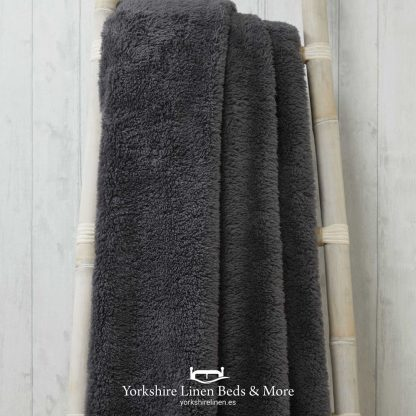 Super Soft Teddy Throws Charcoal - Yorkshire Linen Beds & More P01