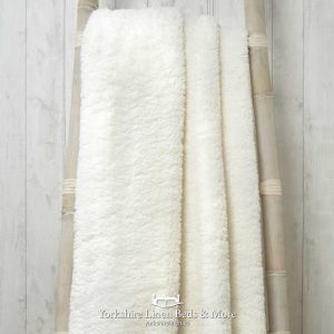 Super Soft Teddy Throws Ivory - Yorkshire Linen Beds & More P01