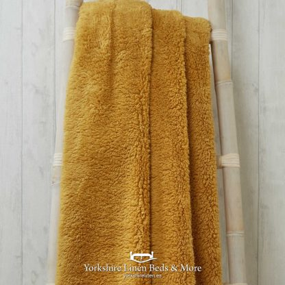 Super Soft Teddy Throws Ochre - Yorkshire Linen Beds & More P01