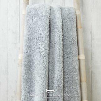 Super Soft Teddy Throws Silver - Yorkshire Linen Beds & More P01