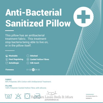 Anti-Bacterial Sanitized Pillow - Yorkshire Linen Beds & More P03
