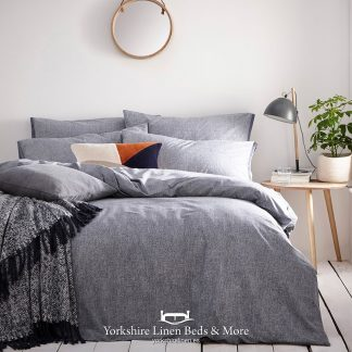 Clayton 100% Tumbled Cotton Duvet Cover Set Denim - Yorkshire Linen Beds & More P01