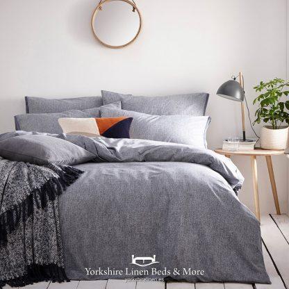 Clayton 100% Tumbled Cotton Duvet Cover Set Denim - Yorkshire Linen Beds & More P01