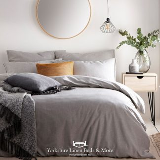 Clayton 100% Tumbled Cotton Duvet Cover Set Grey - Yorkshire Linen Beds & More P01