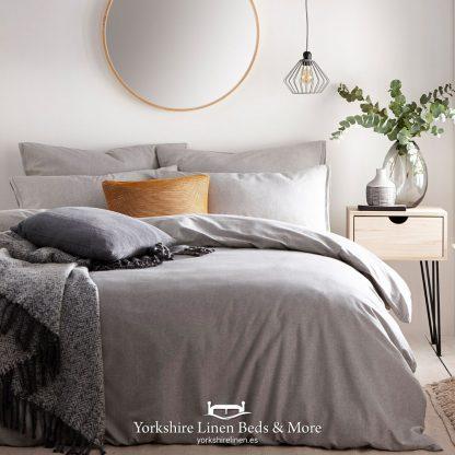 Clayton 100% Tumbled Cotton Duvet Cover Set Grey - Yorkshire Linen Beds & More P01