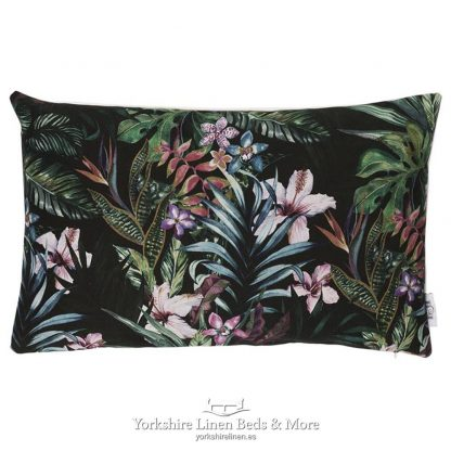 Jungle Leaves Cushions Ebony - Yorkshire Linen Beds & More P02jpg