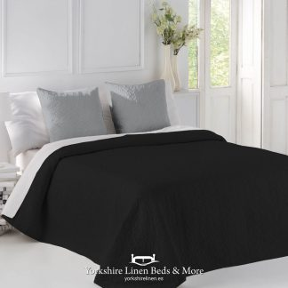 Palermo Black and Grey Reversible Bedspread - Yorkshire Linen Beds & More P01
