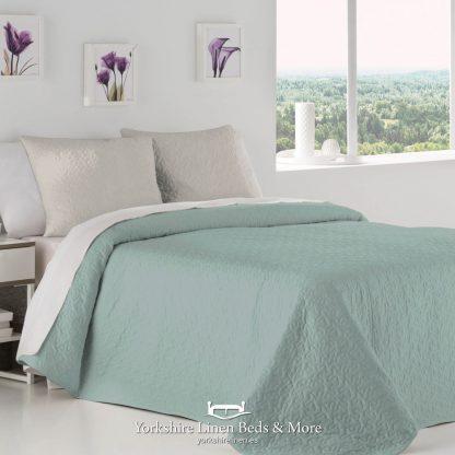 Palermo Duck Egg Reversible Bedspread - Yorkshire Linen Beds & More P01