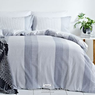 Textured Stripe Yarn Dye Duvet Cover Set Denim - Yorkshire Linen Beds & More P01