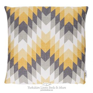 Geometric Ochre and Grey Cushions - Yorkshire Linen Beds & More P01