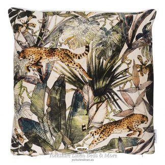 Jungle Cheetah Cushions Natural - Yorkshire Linen Beds & More P01