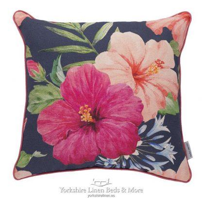 Jungle Flower Navy Cushion Yorkshire Linen Beds & More P01