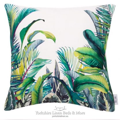 Jungle Leaves Vibrant Green Cushions - Yorkshire Linen Beds & More P01