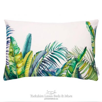 Jungle Leaves Vibrant Green Cushions - Yorkshire Linen Beds & More P02