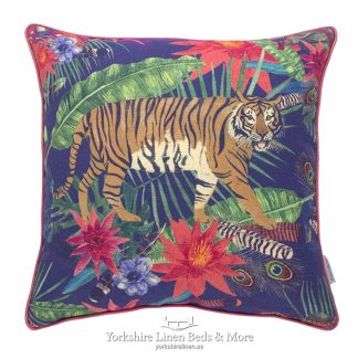 Jungle Tiger Navy Cushion Yorkshire Linen Beds & More P01