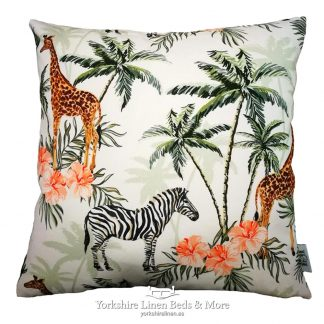 Jungle Zebra & Giraffe Cushions Green & Tangerine White - Yorkshire Linen Beds & More P01