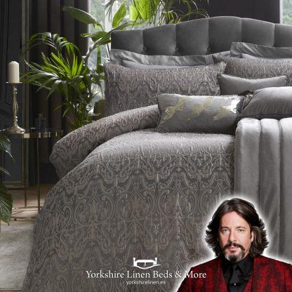 Mace Damask Duvet Cover Set Slate Laurence Llewelyn-Bowen Yorkshire Linen Beds & More P01