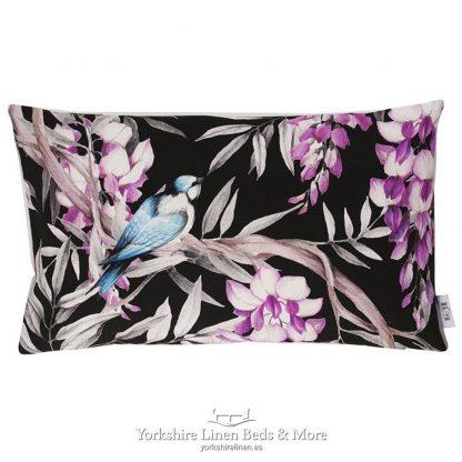 Oriental Birds Cushions Ebony - Yorkshire Linen Beds & More P02