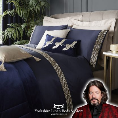Laurence Llewelyn-Bowen Rivel Navy Duvet Cover Set Yorkshire Linen Beds & More P01a