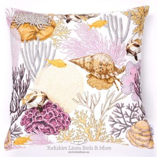 Sea Shells Ochre and Pink Cushions - Yorkshire Linen Beds & More P01