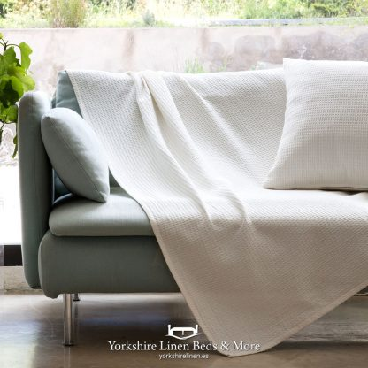 Sicily Multi Use Cotton Throw Ivory Yorkshire Linen Beds & More P01