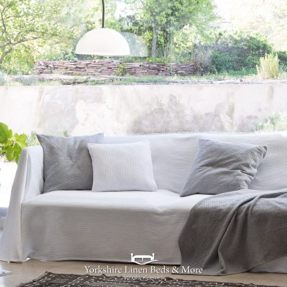 Sicily Multi Use Cotton Throw Silver Yorkshire Linen Beds & More P04