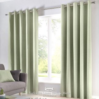 Sorbonne Sage Ring Top Curtains Yorkshire Linen Beds & More P01