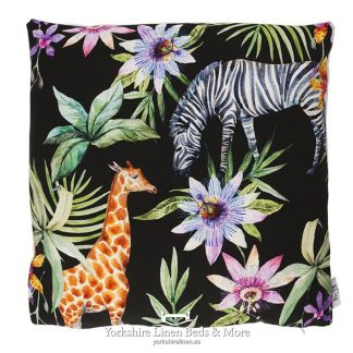 Tropical Jungle Zebra & Giraffe Cushions Ebony - Yorkshire Linen Beds & More P01