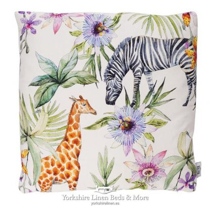 Tropical Jungle Zebra & Giraffe Cushions White - Yorkshire Linen Beds & More P01