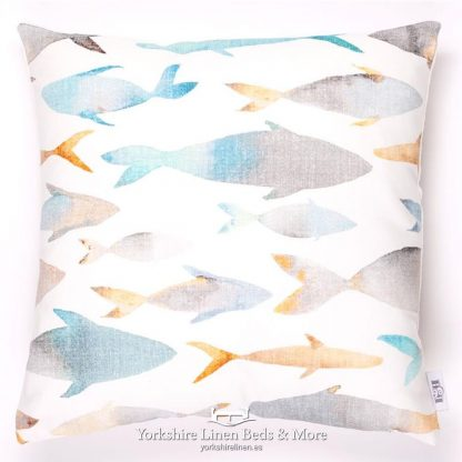Watercolour Fish and Fauna Cushions Fish - Yorkshire Linen Beds & More P01