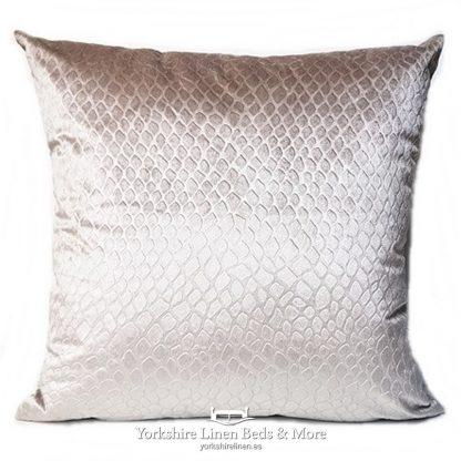 Crocodile Velvet Cushions Natural Yorkshire Linen Beds & More P01