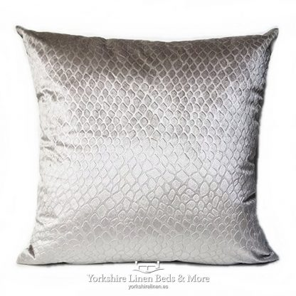 Crocodile Velvet Cushions Silver Yorkshire Linen Beds & More P01