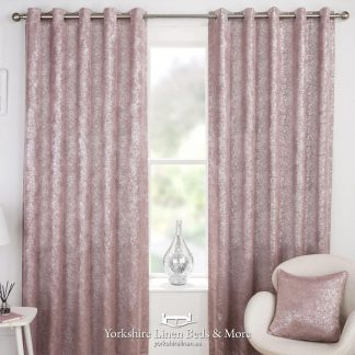 Hola Blockout Eyelet Curtains Blush Pink - Yorkshire Linen Beds & More P01