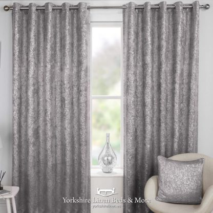 Hola Blockout Eyelet Curtains Grey - Yorkshire Linen Beds & More P01