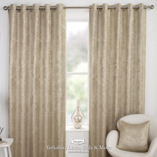 Hola Blockout Eyelet Curtains Natural - Yorkshire Linen Beds & More P01