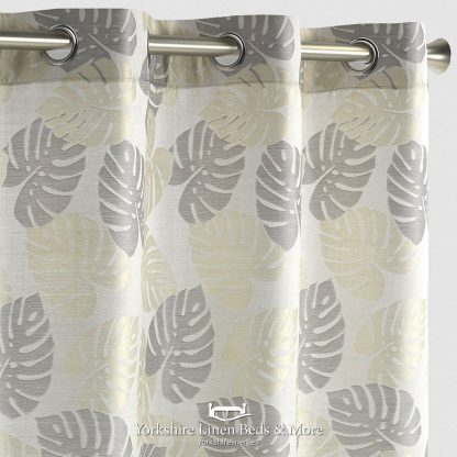 Paradise Jacquard Curtain Panel Gold and Grey Yorkshire Linen Beds & More P01
