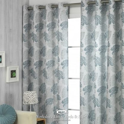 Paradise Jacquard Curtain Panel Teal Silver Yorkshire Linen Beds & More P01
