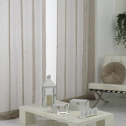 Sparkle Chain Ring Top Voile Panel Gold Curtains & Voiles from Yorkshire Linen Beds & More P03